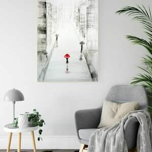 art krystyna siwek obraz ręcznie malowany 70x100 cm, deszczowa ulica, 2578721