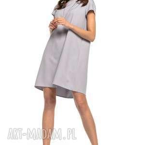 sukienki sukienka z kontrafałdą na plecach, t261, szary, sukienka, prosta