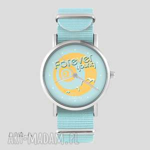 ręcznie robione zegarki zegarek, bransoletka - forever young niebieski, nato