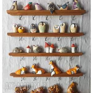 wieszaki zestaw 5 leśnych wieszaków, ceramika, wiszak, drewno, lis, jeż