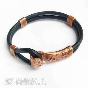 bransoleta z kutej miedzi na skórzanym rzemieniu, męska biżuteria, miedź
