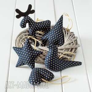 ozdoby choinkowe granatowe w złote gwiazdki, święta, bożenarodzenie, prezent
