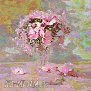 obraz do salonu, jadalni kwiaty w szklance 70 x 90, pastelowy na ścianę