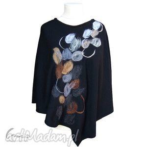 Poncho czarne abstrakcja II, poncho, ponczo, zdobione, filcowane, wełna, ręcznie