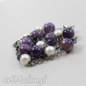 Perły i czaroit w oksydowanym srebrze - naszyjnik , perły, hodowlane,