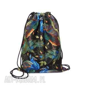 plecak worek welurowy pawie, plecak, worek, welurowy, kolorowy, ptaki