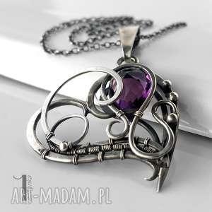 purple heart srebrny naszyjnik z ametystem, ametyst, srebro, wirewrapping, serce