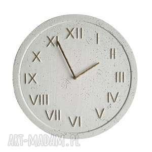 zegar betonowy handmade z betonu biały złoty 45cm vintage styl skandynawski