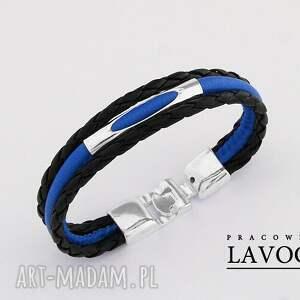 Bransoletka w niebieskościach i czerni. - ,bransoletka,metal,rzemień,biżuteria,