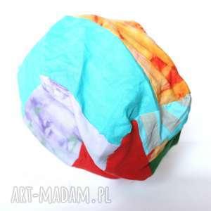 czapki czapka patchworkowa damska farbowana, czapka, patchwork, etno, boho, prezent