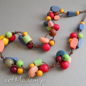 multicolor- naszyjnik - korale, kolorowe, drewno