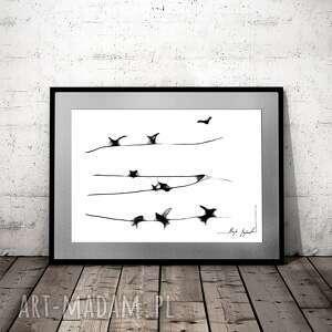 grafika 105, z ptakami, dekoracja do domu, salonu