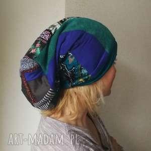 czapka damska długa patchworkowa styl boho handmade, etno, smerfetka,