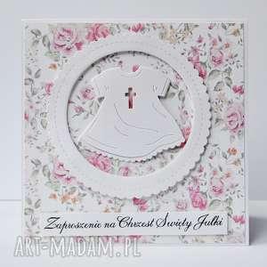zaproszenia kwiatowe na chrzest święty dla dziewczynki, zaproszenie