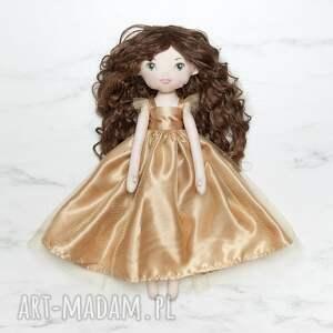 ręcznie robione lalki lalka księżniczka w złotej sukni balowej