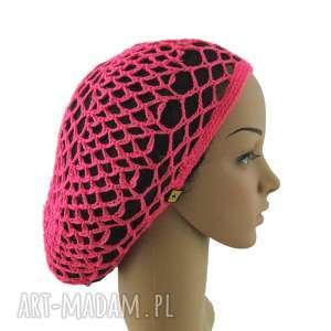 hand-made czapki jaskraworóżowa plażowa siatka na włosy