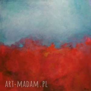 obraz na płótnie - abstrakcja 40/40 cm, abstrakcja, niebieski, akryl, czerwień