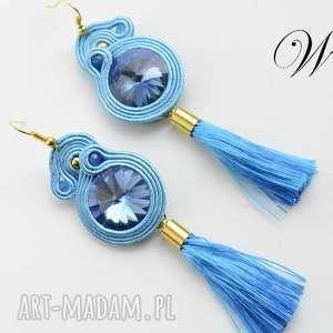 handmade kolczyki kolczyki sutasz niebiesko złote z chwostami