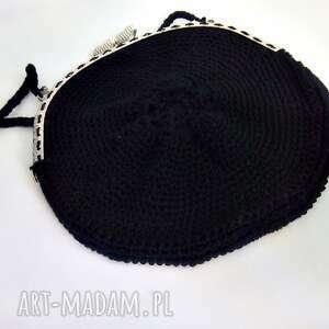 Czarna torebka z biglami - ręcznie zrobione