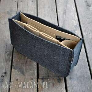 organizer z filcu do torebki - grafitowy beżowym wnętrzem, filcowy