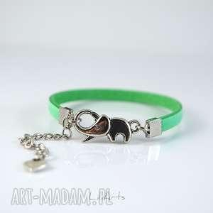 handmade bransoletka skórzana - słonik zielony