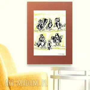 ptaszki plakat, grafika, plakat z ptaszkami, ilustracja grafika