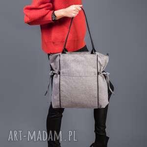 Amber - duża torba shopper jasnoszara plecionka na ramię incat