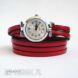 zegarki zegarek, bransoletka - czerwony skórzany, owijany