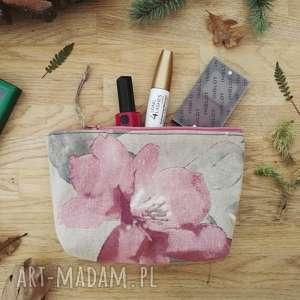 kosmetyczka lniana, kosmetyczka, organizer, len, kwiaty, vintage