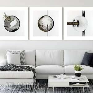 zestaw 3 grafik 40x40 cm wykonanych ręcznie, abstrakcja, 2712435