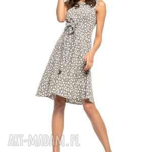 sukienki letnia sukienka wiązana, t281, biały kwiatek na szarym tle