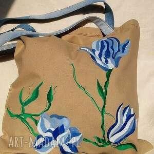 Bawełniana Torba Z Kwiatami, torba, eko-torba, worek, bawełna, kwiaty