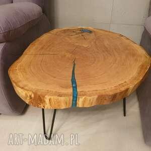 stoły stolik kawowy, plaster drewna - dąb i niebieska żywica, stolikkawowy