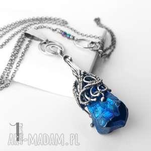 frosen iii srebrny naszyjnik z kwarcem tytanowym, srebro, oksydowane, kwarc