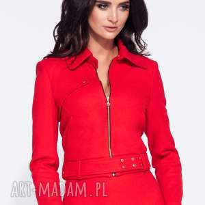 Elegancka krótka kurtka damska jesienna, krótka, na-podszewce, elegancka