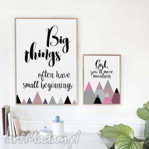 ZESTAW 2 PLAKATÓW / BIG THINGS A3, typograficzny, motywacyjny, góry, mountains