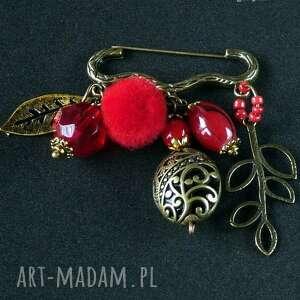 broszka niezwykła na agrafce. czerwono-złota oryginalna handmade