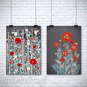 grafika zestaw 2 prac a3, kwiaty, maki, łąka