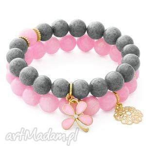 lavoga pink & gray jade with pendants - kwiatek, jadeit