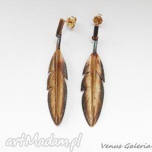 Kolczyki srebrne- Pióra brązowe, biżuteria, srebro,