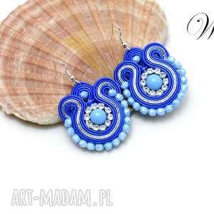 kolczyki sutasz szafirowo niebieskie, kolczyki, sutasz, eleganckie, modne