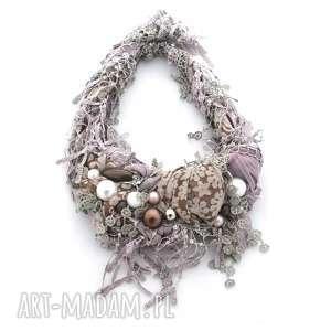 VIOLETT naszyjnik handmade, naszyjnik, kolia, frędzle, fioletowy, fiolet, liliowy