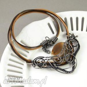 amanedi - naszyjnik z agatem, naszyjnik, wyrazisty, agat, miedź, brązowy