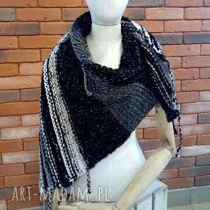 ciepła asymetryczna chusta, szal, na-drutach, kobieca, ciepłachusta