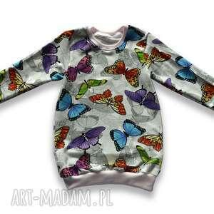 motyle kolorowa tunika z dresówki, długa bluza dla dziewczynki, rozmiary 68-128