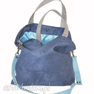na ramię torba hobo xxl - kobalt, błękit, szarość, hobo, alcantara, torebki