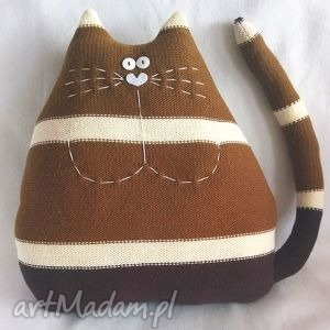 kot brązowy - kot, kotek, prezent, zabawka, maskotka, poduszka