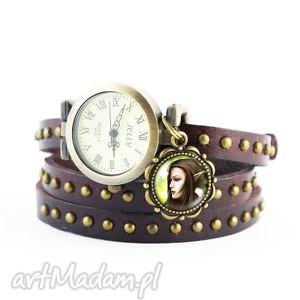 bransoletka, zegarek - elf brązowy, nity, skórzany, skórzana
