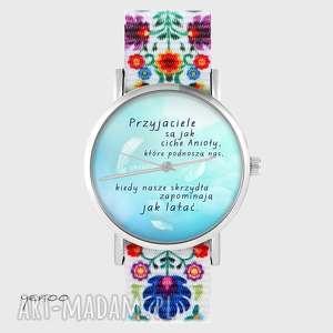 zegarek - przyjaciele folk biały, nato, zegarek, przyjaciel, folkowy, pasek
