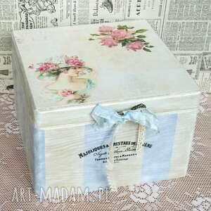 Pudełko w stylu francuskim paski, shabby chic pudełka made by